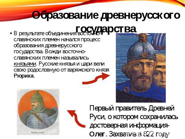 В результате объединения восточно- славянских племен начался процесс образования древнерусского государства. Вожди восточно- славянских племен назывались князьями. Русские князья и цари вели свою родословную от варяжского князя Рюрика. В результате …