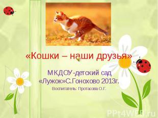 «Кошки – наши друзья» МКДОУ-детский сад «Лужок»С.Гонохово 2013г. Воспитатель: Пр