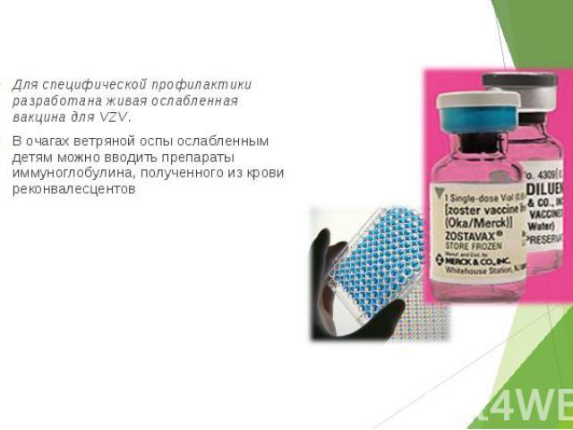 Для специфической профилактики разработана живая ослабленная вакцина для VZV. Для специфической профилактики разработана живая ослабленная вакцина для VZV. В очагах ветряной оспы ослабленным детям можно вводить препараты иммуноглобулина, полученного…