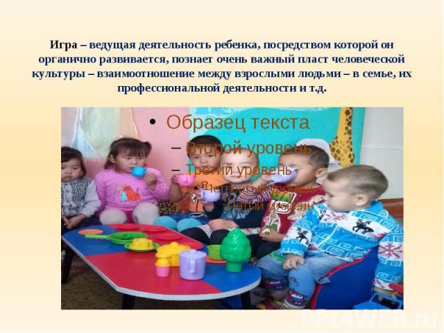 Игра – ведущая деятельность ребенка, посредством которой он органично развивается, познает очень важный пласт человеческой культуры – взаимоотношение между взрослыми людьми – в семье, их профессиональной деятельности и т.д.