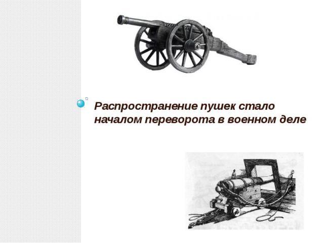 Распространение пушек стало началом переворота в военном деле Распространение пушек стало началом переворота в военном деле