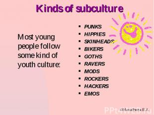 Kinds of subculture PUNKS HIPPIES SKINHEADS BIKERS GOTHS RAVERS MODS ROCKERS HAC