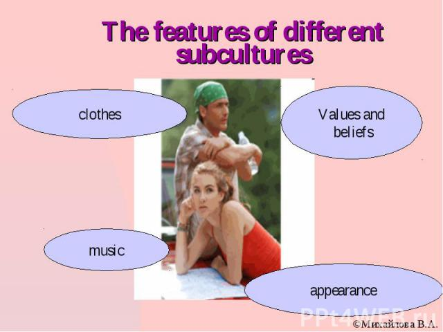 The features of different subcultures
