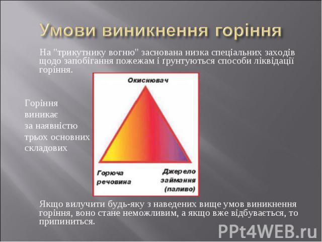 """На """"трикутнику вогню"""" заснована низка спеціальних заходів щодо запобігання пожежам і ґрунтуються способи ліквідації горіння. На """"трикутнику вогню"""" заснована низка спеціальних заходів щодо запобігання пожежам і ґрунтуються способи…"""