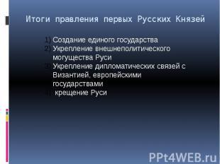 Итоги правления первых Русских Князей