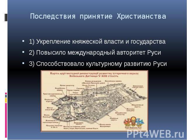 Последствия принятие Христианства 1) Укрепление княжеской власти и государства 2) Повысило международный авторитет Руси 3) Способствовало культурному развитию Руси