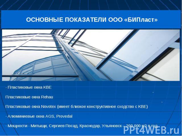 - Пластиковые окна KBE - Пластиковые окна Rehau - Пластиковые окна Novotex (имеет близкое конструктивное сходство с KBE) Алюминиевые окна AGS, Provedal Мощности - Митыщи, Сергиев Посад, Краснодар, Ульяновск – 200 000 м2 в год