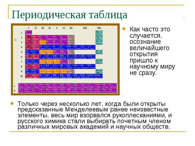Только через несколько лет, когда были открыты предсказанные Менделеевым ранее неизвестные элементы, весь мир взорвался рукоплесканиями, и русского химика стали выбирать почетным членом различных мировых академий и научных обществ. Только через неск…