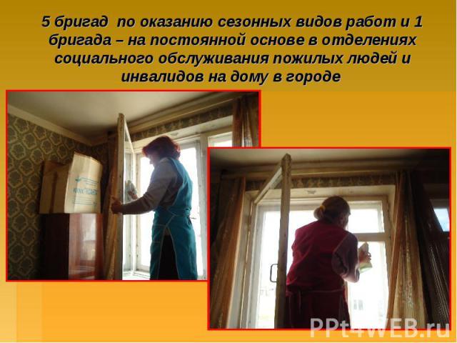 5 бригад по оказанию сезонных видов работ и 1 бригада – на постоянной основе в отделениях социального обслуживания пожилых людей и инвалидов на дому в городе
