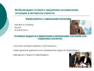 Мобилизация сетевого окружения на изменение ситуации в интересах клиентаФормы ра