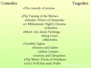 «The comedy of errors» «The Taming of the Shrew» «Hamlet. Prince of Denmark» «