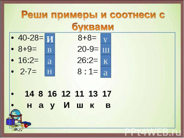40-28= 8+8= 40-28= 8+8= 8+9= 20-9= 16:2= 26:2= 2∙7= 8 : 1= 14 8 16 12 11 13 17 н а у И ш к в