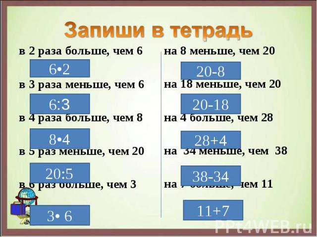 в 2 раза больше, чем 6 в 2 раза больше, чем 6 в 3 раза меньше, чем 6 в 4 раза больше, чем 8 в 5 раз меньше, чем 20 в 6 раз больше, чем 3