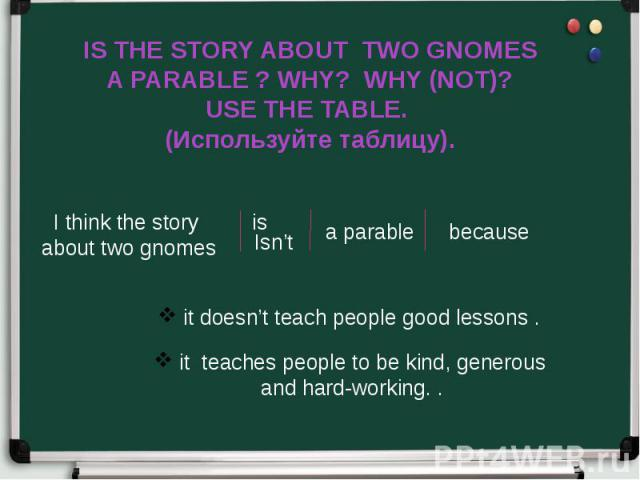 IS THE STORY ABOUT TWO GNOMES A PARABLE ? WHY? WHY (NOT)? USE THE TABLE. (Используйте таблицу).