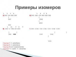 Примеры изомеров 1 2 3 4 3 4 5 6 А) CH3 - CH- CH2- CH3 Б) CH3 - CH2 – CH- CH2- C