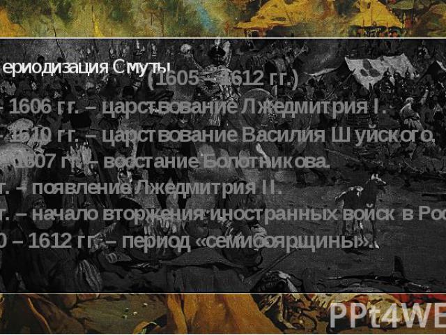 Периодизация Смуты (1605 – 1612 гг.) 1605 – 1606 гг. – царствование Лжедмитрия I. 1606 – 1610 гг. – царствование Василия Шуйского. 1606 – 1607 гг. – восстание Болотникова. 1607 г. – появление Лжедмитрия II. 1609 г. – начало вторжения иностранных вой…