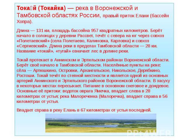 Токай (Токайка)— река в Воронежской и Тамбовской областях России, правый приток Елани (бассейн Хопра).Длина— 131км, площадь бассейна 957 квадратных километров. Берёт начало в солонцах у деревни Рассвет, течёт с севера на юг через совхоз «Полетаев…