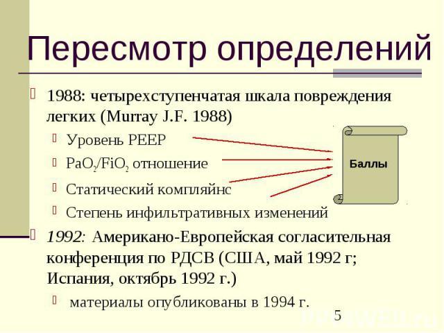 Пересмотр определений 1988: четырехступенчатая шкала повреждения легких (Murray J.F. 1988) Уровень PEEP PaO2/FiO2 отношение Статический компляйнс Степень инфильтративных изменений 1992: Американо-Европейская согласительная конференция по РДСВ (США, …
