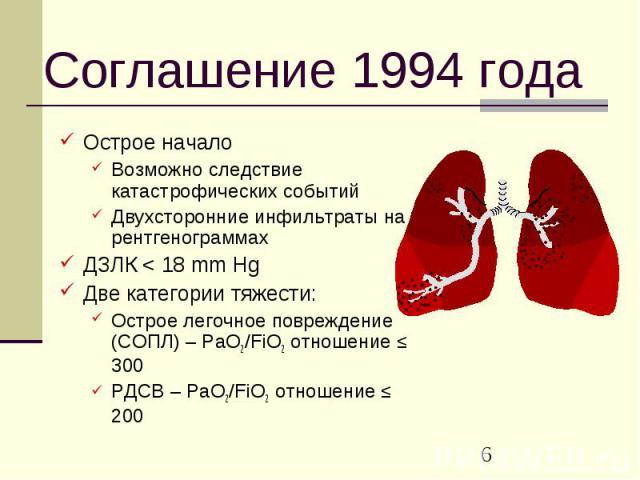 Соглашение 1994 года Острое начало Возможно следствие катастрофических событий Двухсторонние инфильтраты на рентгенограммах ДЗЛК < 18 mm Hg Две категории тяжести: Острое легочное повреждение (СОПЛ) – PaO2/FiO2 отношение ≤ 300 РДСВ – PaO2/FiO2 отн…