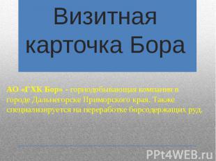 Визитная карточка Бора АО «ГХК Бор» - горнодобывающаякомпания в городе&nbs