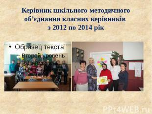 Керівник шкільного методичного об'єднання класних керівників з 2012 по 2014 рік