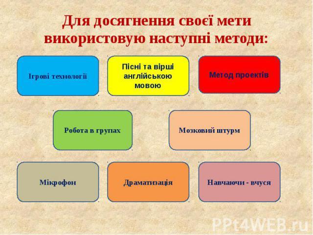 Для досягнення своєї мети використовую наступні методи: