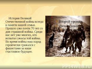 История Великой Отечественной войны всегда в памяти нашей семьи. Прошло уже почт