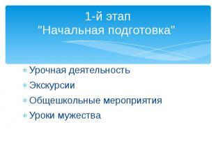 """1-й этап """"Начальная подготовка"""" Урочная деятельность Экскурсии Общешко"""