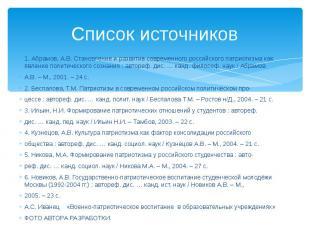 Список источников 1. Абрамов, А.В. Становление и развитие современного российско