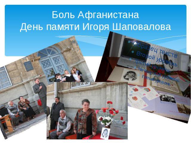 Боль Афганистана День памяти Игоря Шаповалова
