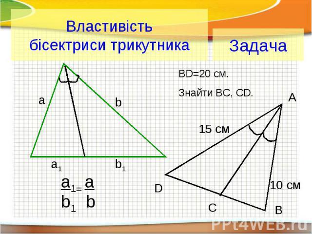 Властивість бісектриси трикутника