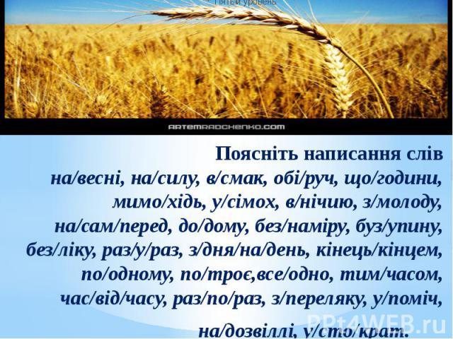Поясніть написання слів на/весні, на/силу, в/смак, обі/руч, що/години, мимо/хідь, у/сімох, в/нічию, з/молоду, на/сам/перед, до/дому, без/наміру, буз/упину, без/ліку, раз/у/раз, з/дня/на/день, кінець/кінцем, по/одному, по/троє,все/одно, тим/часом, ча…