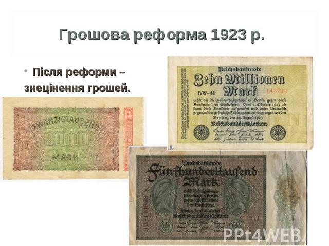Після реформи – Після реформи – знецінення грошей.