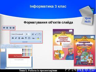 Інформатика 3 клас Форматування об'єктів слайда