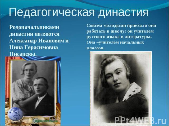 Родоначальниками династии являются Александр Иванович и Нина Герасимовна Писаревы. Родоначальниками династии являются Александр Иванович и Нина Герасимовна Писаревы.