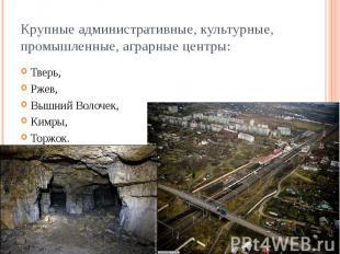 Крупные административные, культурные, промышленные, аграрные центры: Тверь, Ржев