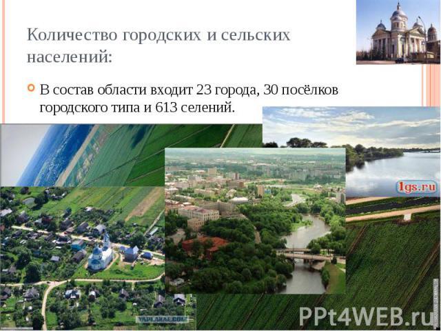 Количество городских и сельских населений: В состав области входит 23 города, 30 посёлков городского типа и 613 селений.