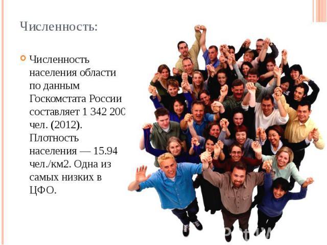 Численность: Численность населения области по данным Госкомстата России составляет 1 342 200 чел. (2012). Плотность населения — 15.94 чел./км2. Одна из самых низких в ЦФО.