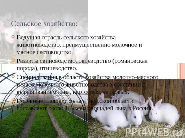 Сельское хозяйство: Ведущая отрасль сельского хозяйства - животноводство, преимущественно молочное и мясное скотоводство. Развиты свиноводство, овцеводство (романовская порода), птицеводство. Специализация в области хозяйства молочно-мясного и мясо-…