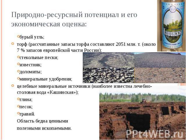 Природно-ресурсный потенциал и его экономическая оценка: бурый угль; торф (рассчитанные запасы торфа составляют 2051 млн. т. (около 7 % запасов европейской части России); стекольные пески; известняк; доломиты; минеральные удобрения; целебные минерал…