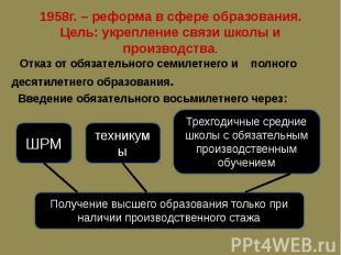 1958г. – реформа в сфере образования. Цель: укрепление связи школы и производств