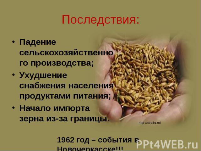 Последствия: Падение сельскохозяйственного производства; Ухудшение снабжения населения продуктами питания; Начало импорта зерна из-за границы.