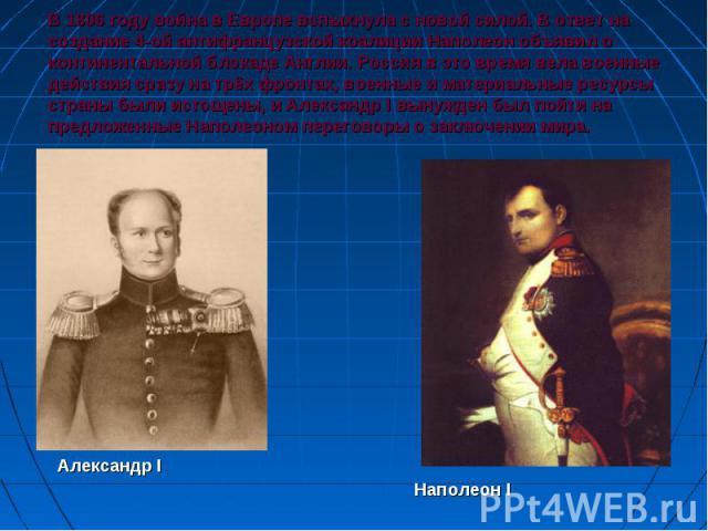 В 1806 году война в Европе вспыхнула с новой силой. В ответ на создание 4-ой антифранцузской коалиции Наполеон объявил о континентальной блокаде Англии. Россия в это время вела военные действия сразу на трёх фронтах, военные и материальные ресурсы с…
