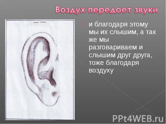 и благодаря этому мы их слышим, а так же мы разговариваем и слышим друг друга, тоже благодаря воздуху и благодаря этому мы их слышим, а так же мы разговариваем и слышим друг друга, тоже благодаря воздуху