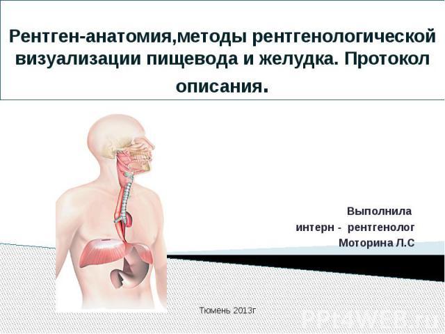 Рентген-анатомия,методы рентгенологической визуализации пищевода и желудка. Протокол описания.Выполнила интерн - рентгенологМоторина Л.С