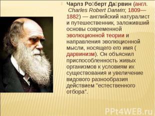 Чарлз Роберт Дарвин (англ. Charles Robert Darwin; 1809—1882) — английский натура