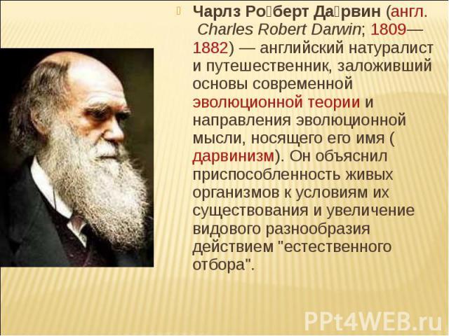 Чарлз Роберт Дарвин (англ. Charles Robert Darwin; 1809—1882) — английский натуралист и путешественник, заложивший основы современной эволюционной теории и направления эволюционной мысли, носящего его имя (дарвинизм). Он объяснил приспособленность жи…