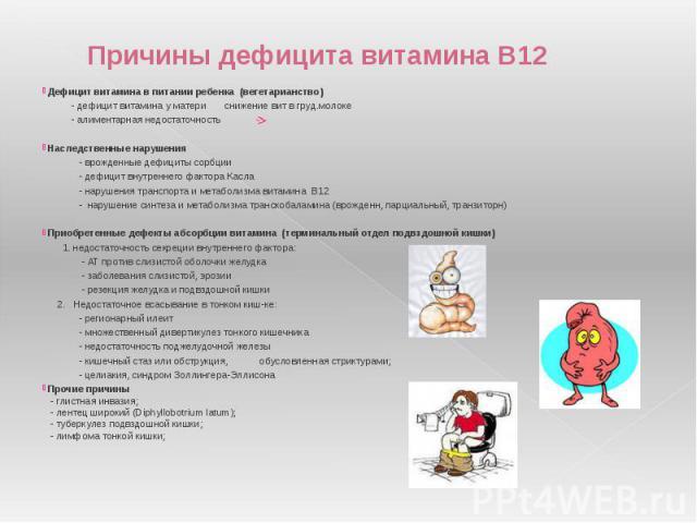 Причины дефицита витамина В12 Дефицит витамина в питании ребенка (вегетарианство) - дефицит витамина у матери снижение вит в груд.молоке - алиментарная недостаточность Наследственные нарушения - врожденные дефициты сорбции - дефицит внутреннего факт…