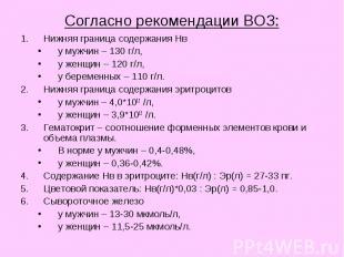 Согласно рекомендации ВОЗ: Нижняя граница содержания Нв у мужчин – 130 г/л, у же
