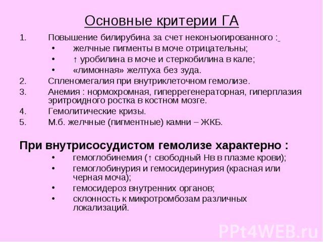 Основные критерии ГА Повышение билирубина за счет неконъюгированного : желчные пигменты в моче отрицательны; ↑ уробилина в моче и стеркобилина в кале; «лимонная» желтуха без зуда. Спленомегалия при внутриклеточном гемолизе. Анемия : нормохромная, ги…